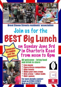Join us for the BEST Big Lunch Sunday June 3rd in Charteris Road from noon to 6 pm
